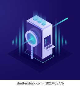 Big data processing, data search and searching engine optimisation concept, Supercomputer, server room, magnifying glass isometric vector on ultraviolet background