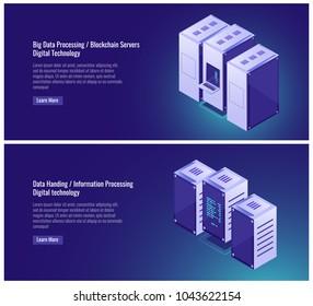 Big, data processing, server room, hosting, blockchian, data handing, computer, mainframe concept, cloud data storage vector illustration on ultraviolet background