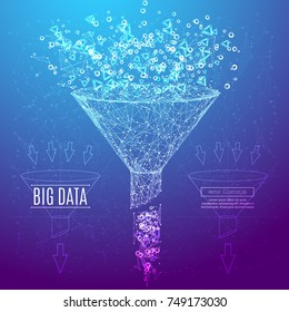 Big data or sales funnel in the form of a starry sky or space, consisting of points, lines, and shapes in the form of planets, stars and the universe. Vector business and marketing concept.