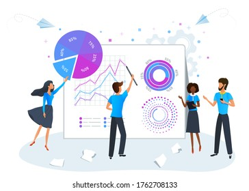 Big data science analysis concept. Marketing research, project development management. Digital data analysis service. Business team brainstorming and analyzing data analytics report