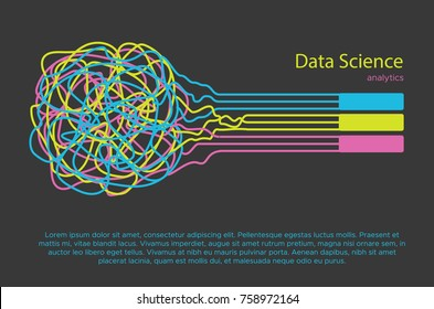 Big data science vector illustration. Machine learning algorithm for information filter and anaytic in flat doodle style
