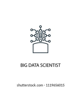 Big data scientist concept line icon. Simple element illustration. Big data scientist concept outline symbol design from Big data, database set. Can be used for web and mobile UI/UX