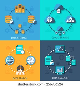 Big data secure storage and analysis cloud service system 4 flat icons composition abstract isolated vector illustration