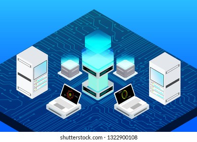 Big Data Server Security Protection On Circuit Board. Decentralized Network Cyberspace 3d Scifi Technology Concept Design Illustration.