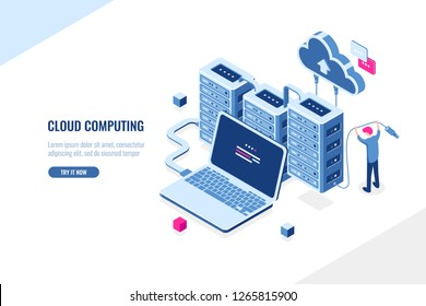 Big data source, data center, cloud computing and cloud storage isometric concept, server room rack, man engineer, flat vector illustration, blue and pink color