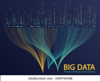Big data statistical analysis visualization concept vector design. 0 and 1 binary matrix data visualization. Big number of curve lines and dots structure for analysis.