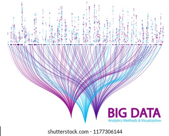Big data statistical methods visualization concept vector design. 0 and 1 binary information data visualization. Digital analytics statistical information of big number curves fractal matrix.