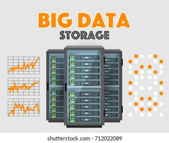 Big Data Store conceptual vector illustration. Realistic flat servers, rack, network connection graphs isolated on gray background. Datacenter technology concept.