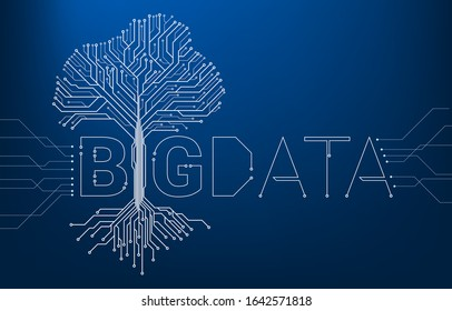 Big Data Tree from digital line connect dot circuit board style. Background concept for digital data transformation.