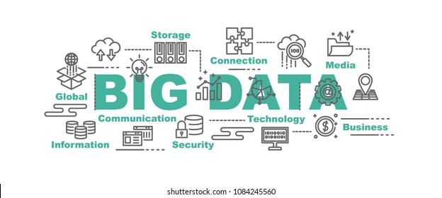 big data vector banner design concept, flat style with icons