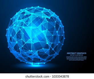 Big data, vector illustration. Network connections with points and lines. Abstract technology background.