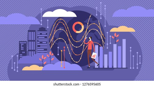 Big data vector illustration. Tiny person with server visualization concept. Digital internet network connection with global database storage analysis. IT business worker research systems file process