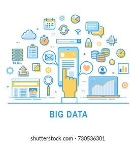 Big data vector. Set of thin line icons. Bigdata infographic concept.