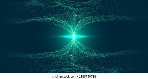 Big Data Vector Visualization. 3d Futuristic Cosmic Design. Technology Background. Visual Presentation on the Analysis of Big Data. Glow Fractal Element in Futuristic Style. Digital Data Visualization