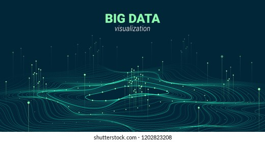 Big Data Vector Visualization. 3d Futuristic Cosmic Design. Technology Background. Visual Presentation on the Analysis of Big Data. Glow Fractal Element in Futuristic Style. Digital Data Stream.