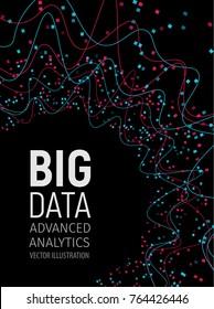 Big data visual energy fractals. Technology network infographic. Information analytics design. Vector illustration.