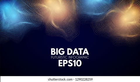Big Data Visualisation. Futuristic Infogtaphic. 3D Abstract Space. Information Design. Vector illustration