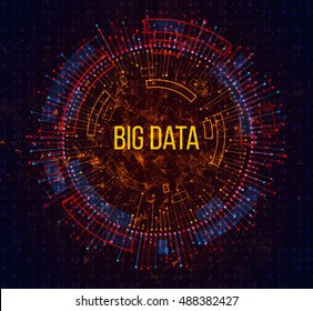 Big Data Visualization. Abstract Background with Dots Array and Lines. Connection Structure. Vector Illustration.
