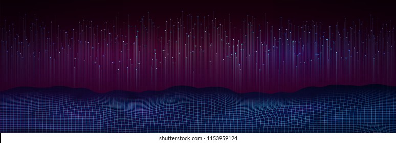 Big data visualization. Abstract digital background with flowing particles. Futuristic design of data flow.