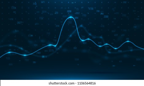 Big data visualization . Abstract graphic consisting of blured points , graph and chart . Information concept . Business , technology background . Vector infographic