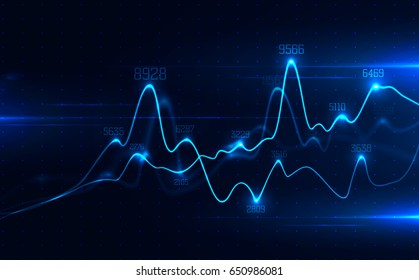 Big data visualization . Abstract graphic consisting of blured points , graph and chart . Information concept . Business , technology background . Vector infographic .