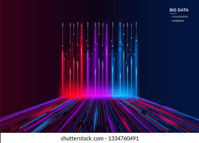 Big data visualization background. Computer analysis technology concept. Abstract visual bigdata flow. Information behavior or futuristic geometric wallpaper. Science and analyze backdrop