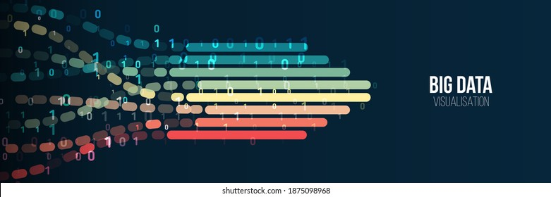 Big data visualization banner. Abstract background with lines array and binary code. Connection structure. Data array visual concept for website. Big data connection complex.