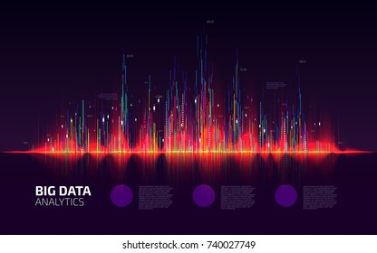 Big data visualization. Colorful fractal element with lines and dots array. Financial report schedule. Stock exchange screen. Business infographic template design. Vector illustration