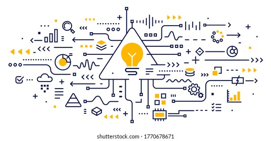 Big data visualization connection complex with icon. Vector abstract innovation illustration of data array visual with light bulb on white background. Line art style design of graphic element for web
