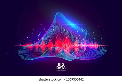 Big data visualization. Fractal element with lines and dots array. Digital sound equalizer. Data diagram visual concept. Technology abstract background. Vector illustration