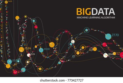 Big data visualization. Futuristic vector background.Intricate data threads graphic. Social network or business analytics representation