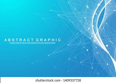 Big data visualization. Geometric abstract background visual information complexity. Futuristic infographics design. Technology background with connected line and dots, wave flow. Vector illustration.