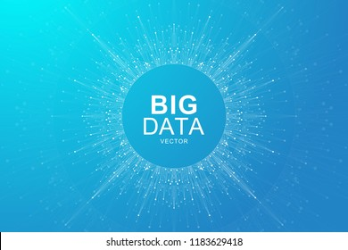 Big data visualization. Graphic abstract background Artificial Intelligence and Machine Learning. Perspective backdrop of depth. Virtual minimal array with compounds. Vector illustration Big data
