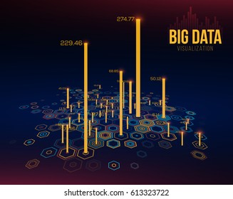 Big Data Visualization. Hexagonal Grid with Bar Charts. Infographics Design Concept.. Vector Illustration.