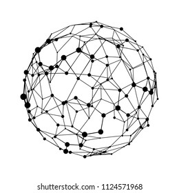 Big data visualization. HUD wireframe mesh sphere with dot and lines. Analysis of information. Visual data infographics design. Science and technology. Digital Data Vector Illustration.