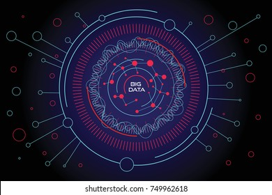 Big data visualization illustration. Fractal element with lines and circles array. Data array visual concept. Big data internet connection complex. Graphic background. Vector abstract illustration