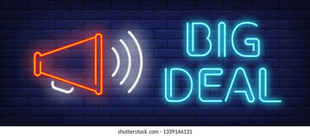 Big deal neon text with loudspeaker. Announcement, business, advertisement design. Night bright neon sign, colorful billboard, light banner. Vector illustration in neon style.