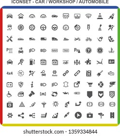 Big detailed Iconset #6. Car Workshop Automobile Premium Icons. For web and mobile. User interface design