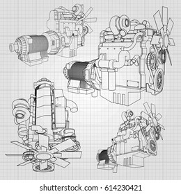 big diesel engine depicted contour lines stock vector royalty free