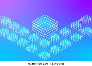 Big Digital Data Server Security Protection Center Screen Control Panel. Decentralized Network Communicate Cyberspace 3d Scifi Technology Concept Design Illustration.