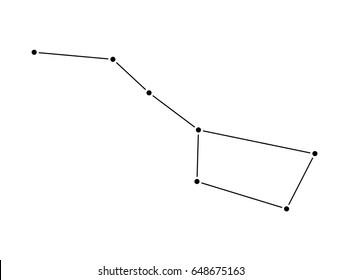 Big Dipper constellation isolated on white background. Ursa Major Vector Illustration