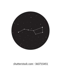 Big dipper constellation, Ursa major, vector illustration