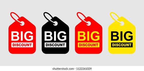 Big Discount Banner. Sale discount icons. Special offer price signs. Sale Red Tag Isolated Vector Illustration.