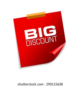 Big Discount Red Sticky Notes Vector Icon Design