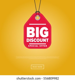 Big discount sticker isolated vector illustration. Super sale tag, special offer discount promo banner, advertisement retail label, exclusive shopping symbol. Modern colorful graphic style offer sign