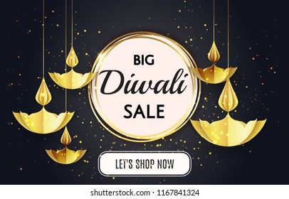 Big Diwali festival sale template banner offer design isolated in black background with golden paper origami oil lamps candles. Luxury, Vip  gold Happy Diwali traditional Indian festival greeting card