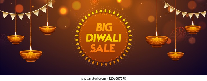 Big Diwali Sale header or banner design with realistic oil lamps and party flag hang on brown blurred background.