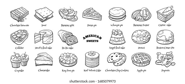 Big doodle set of American sweets. Hand drawn sketch of traditional desserts. Vector illustration on white background.