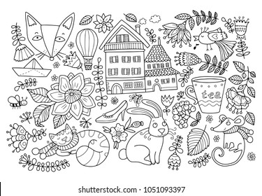 Big doodle set, coloring page for adults and children.