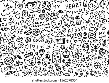 Big doodle set of elements for Valentine's day. Hearts, sweets, flowers, garlands, balls, gifts and other cute items.